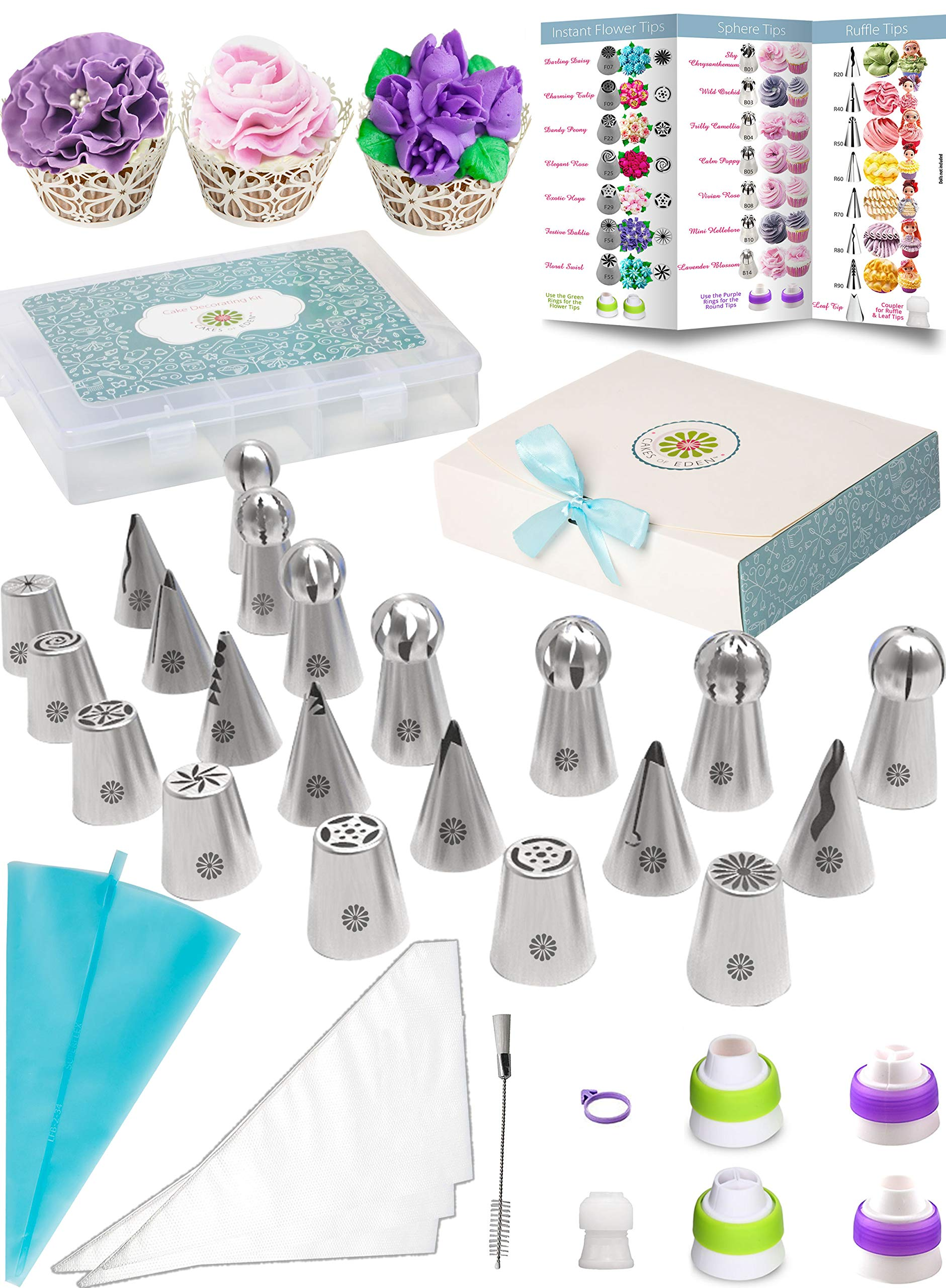 (69pc) Quick'nEasy Cake Decorating Supplies Kit - 3in1 Russian Piping Tips Set, Icing Bags, User Guide, Cupcake Wrappers In Cute Gft Box. Perfect for Making Flower Frosting | Baking Memories Together by Cakes of Eden (Image #1)