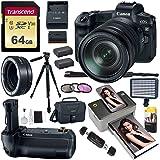 Canon EOS R Mirrorless Full Frame Digital Camera w/RF 24-105mm USM Kit, Battery Grip, Lens Mount Converter, Kodak Mini 2 Printer, LED Video Light, Tripod, and Accessory Bundle