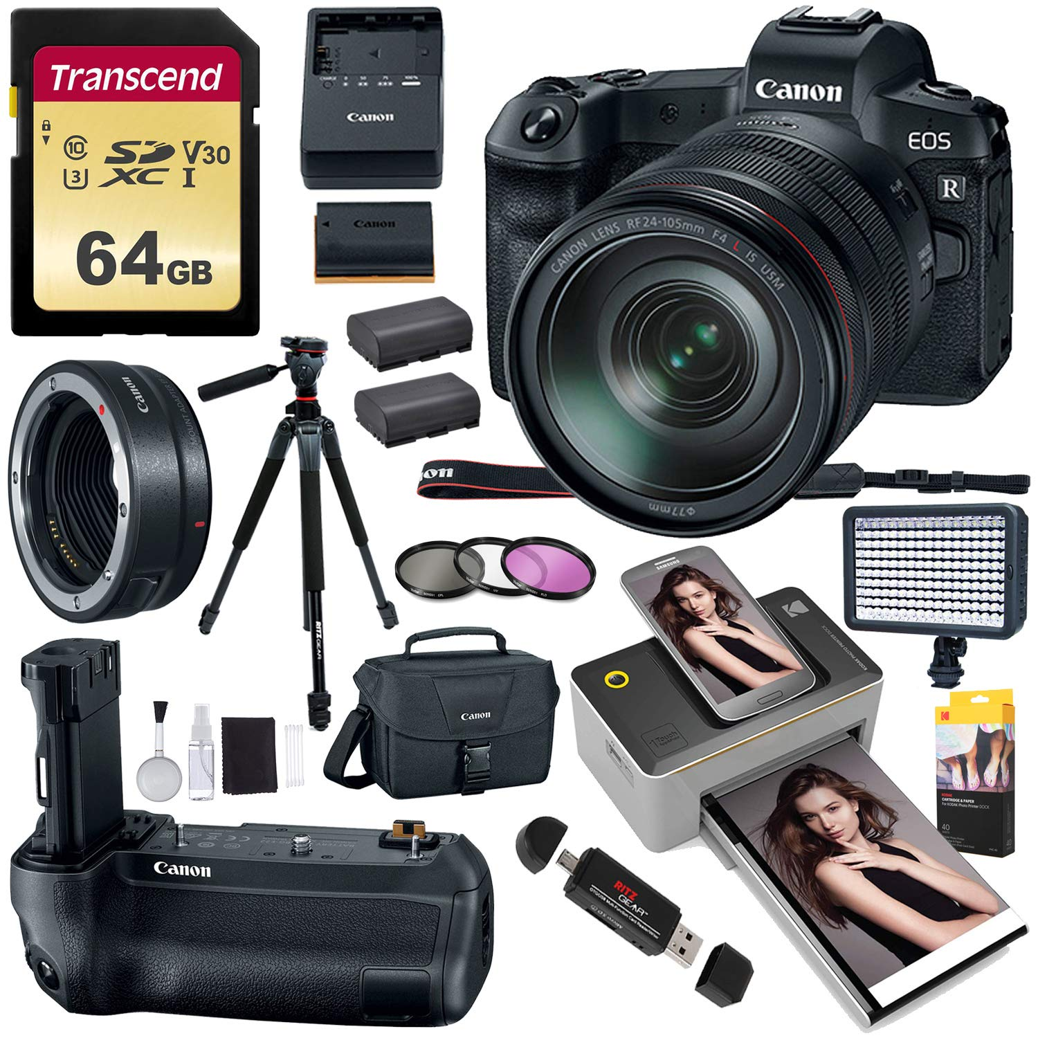 Canon EOS R Mirrorless Full Frame Digital Camera w/RF 24-105mm USM Kit,  Battery Grip, Lens Mount Converter, Kodak Mini 2 Printer, LED Video Light,