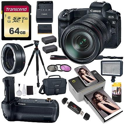 Canon EOS R Mirrorless Full Frame Digital Camera w/RF 24-105mm USM Kit,  Battery Grip, Lens Mount Converter, Kodak Mini 2 Printer, LED Video Light,