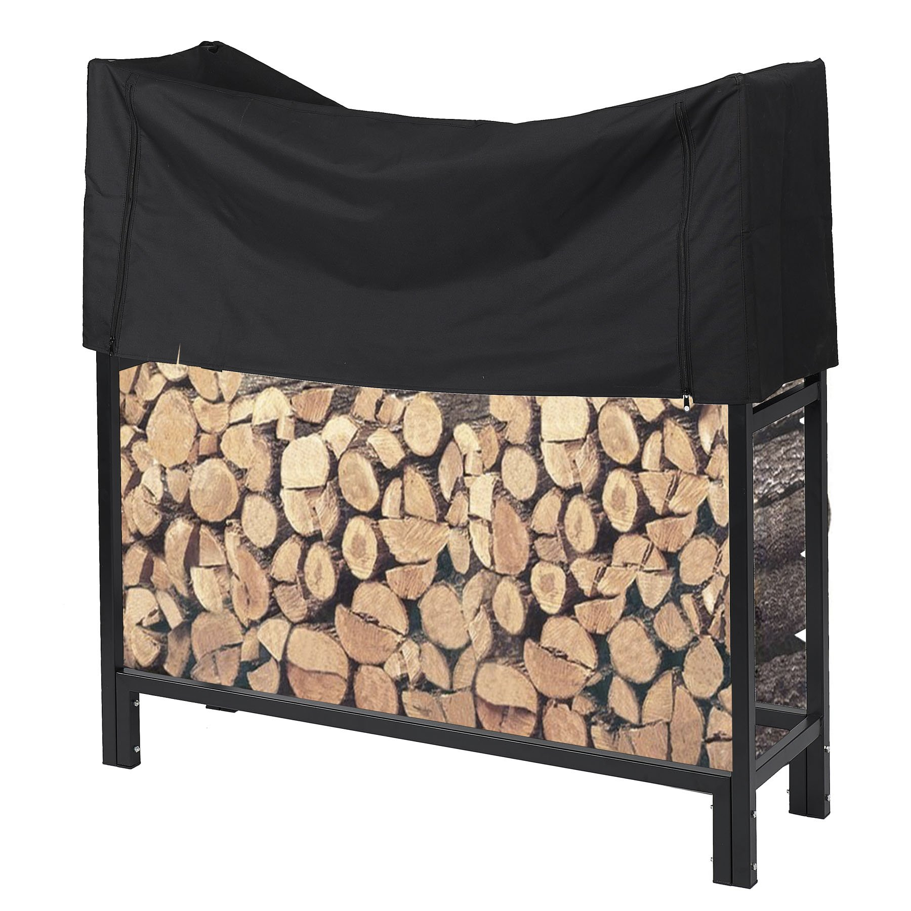 Pinty Ultra Duty Outdoor Firewood Rack with Cover 4 Foot Fireplace Wood Holder