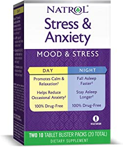 Natrol Stress and Anxiety, Day and Night Tablets, 20-Count