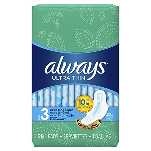 Always Ultra Thin Feminine Pads for Women, Size 3, Extra Long, Super Absorbency, with Wings, Unscented, 28 Count - Pack of 3 (84 Count Total) ( packaging may vary)