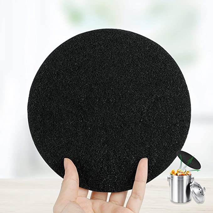 Odor Absorbing Charcoal Filters 7.25 Inches 12 Pack Compost Bin Filters Extra Thick Activated Carbon Kitchen Compost Filters Refill Replacement Filters