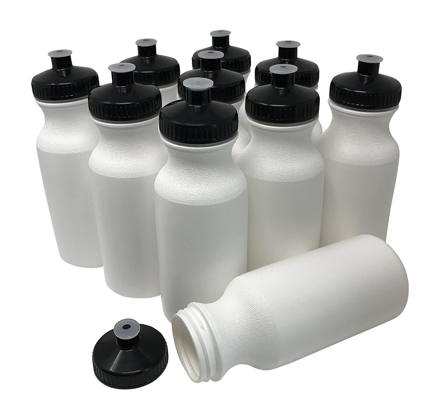 cc650ac06f Amazon.com : CSBD Blank 20 oz Sports and Fitness Squeeze Water Bottles, BPA  Free, HDPE Plastic, Bulk (White Bottle - Black Lid, 10 Pack) : Sports &  Outdoors