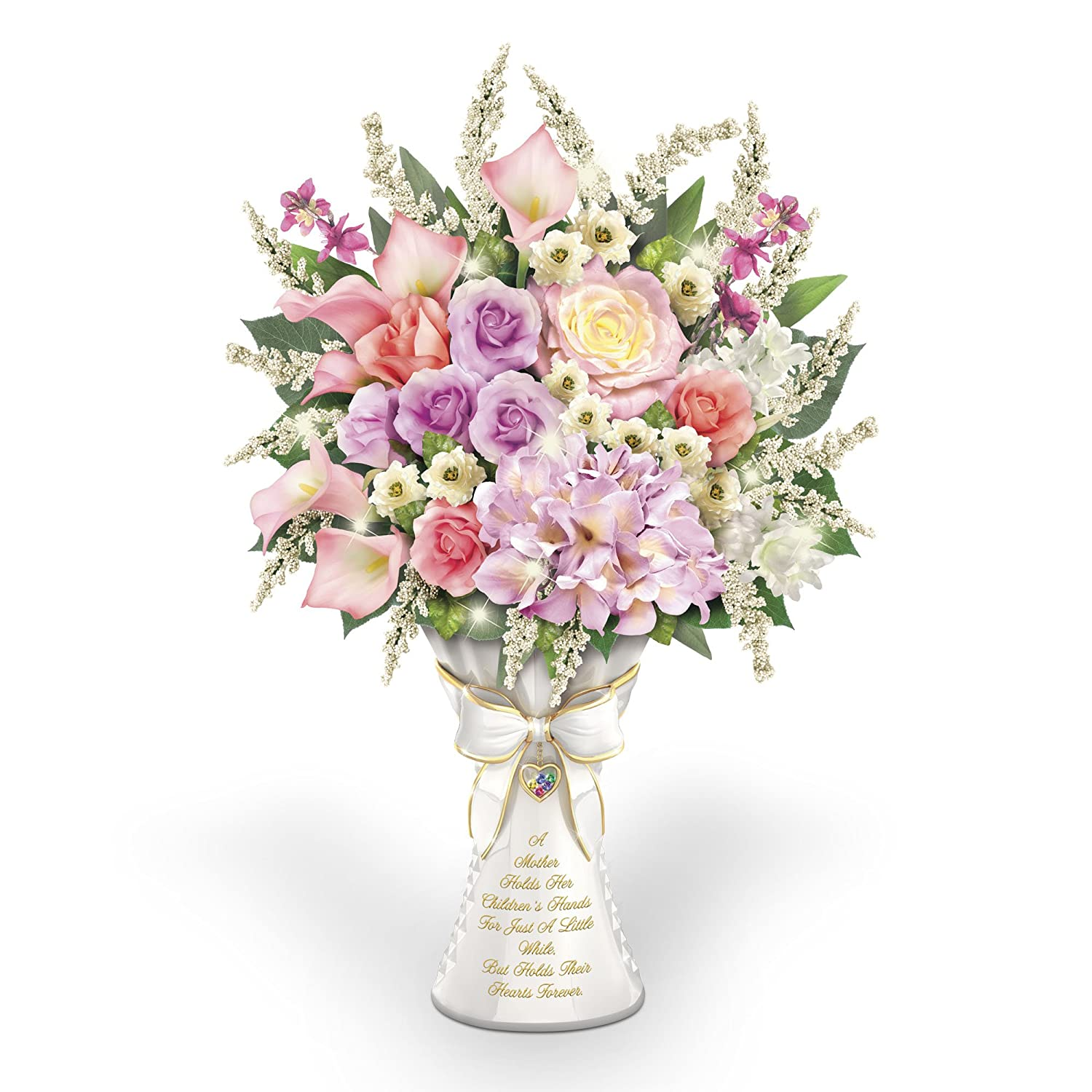 'A Mother's Love' Personalised Birthstone Table Centrepiece Always In Bloom® Lighted Floral Arrangement In Sculpted Vase With A Heart Locket You Personalise The Bradford Exchange