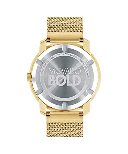 28698d154 Amazon.com: Movado Women's BOLD Thin Yellow Gold Watch with a Flat Dot  Sunray Dial, Gold (Model 3600373): Watches