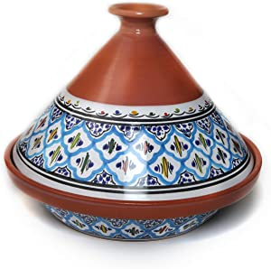 Kamsah Hand Made and Hand Painted Tagine Pot | Moroccan Ceramic Pots For Cooking and Stew Casserole Slow Cooker (Large, Classic Turquoise)