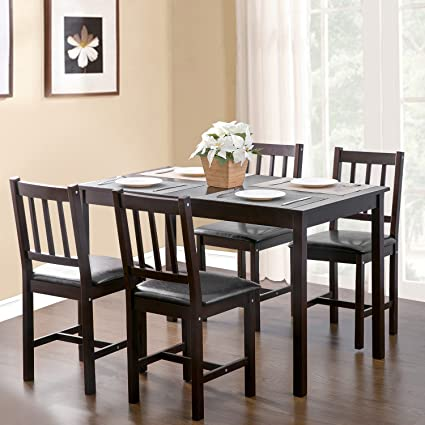 0468dd63c037c Amazon.com  Merax. 5-piece Kitchen Dining Set Wood Dining Table with ...