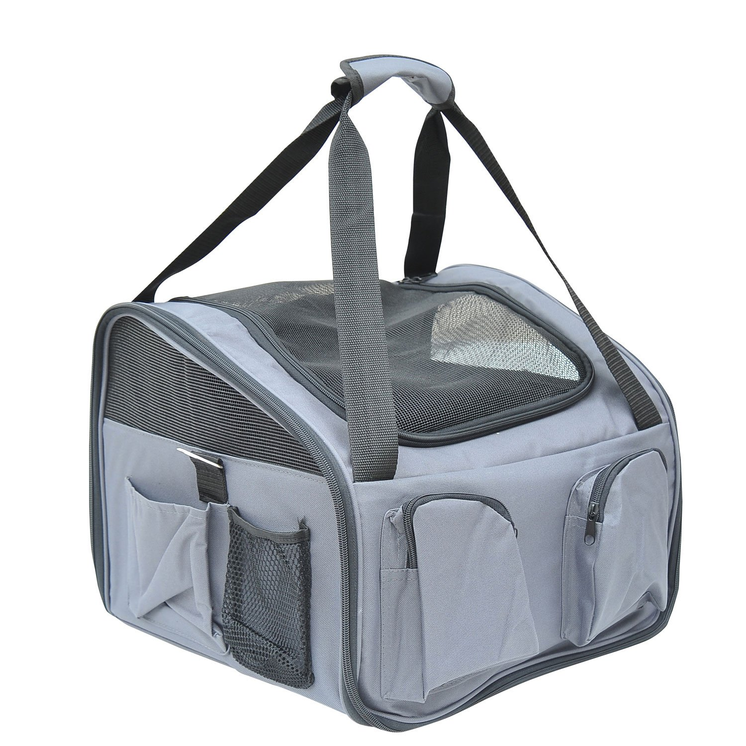 PawHut 3in1 Pet Car Booster Seat Dog Carrier Travel Bag Gray D1-0121
