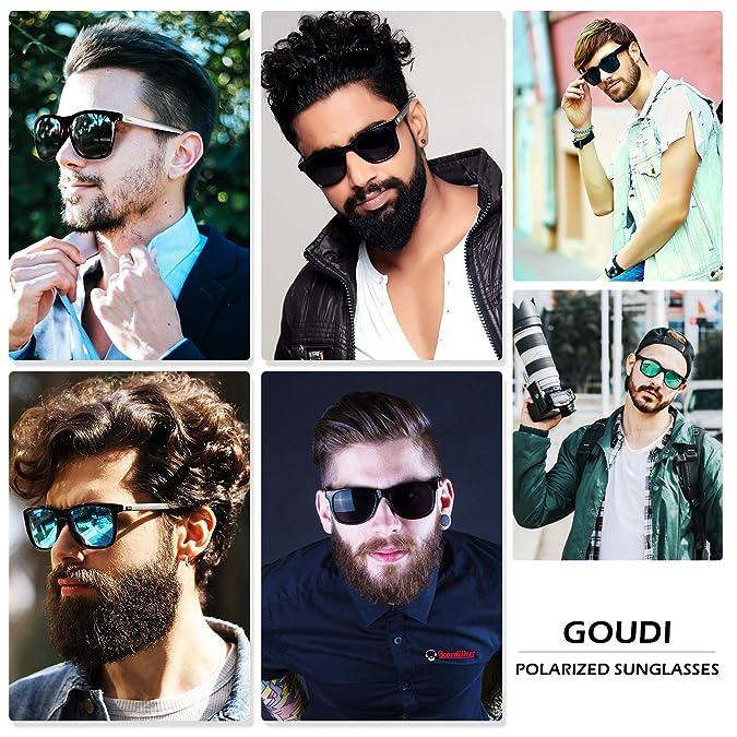 303299edc6b Amazon.com  Polarized Sunglasses For Men Women-GOUDI Vintage Men Women  Sunglasses Al-Mg Metal Frame Ultra Light GD8001(black silver)  Shoes