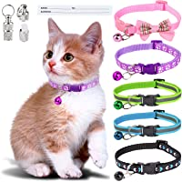Simpeak 5 pcs Cat Collar with Bell, Adjustable Reflective Kitten Collar with Bow Tie, Anti Strangulation Puppy Collar…