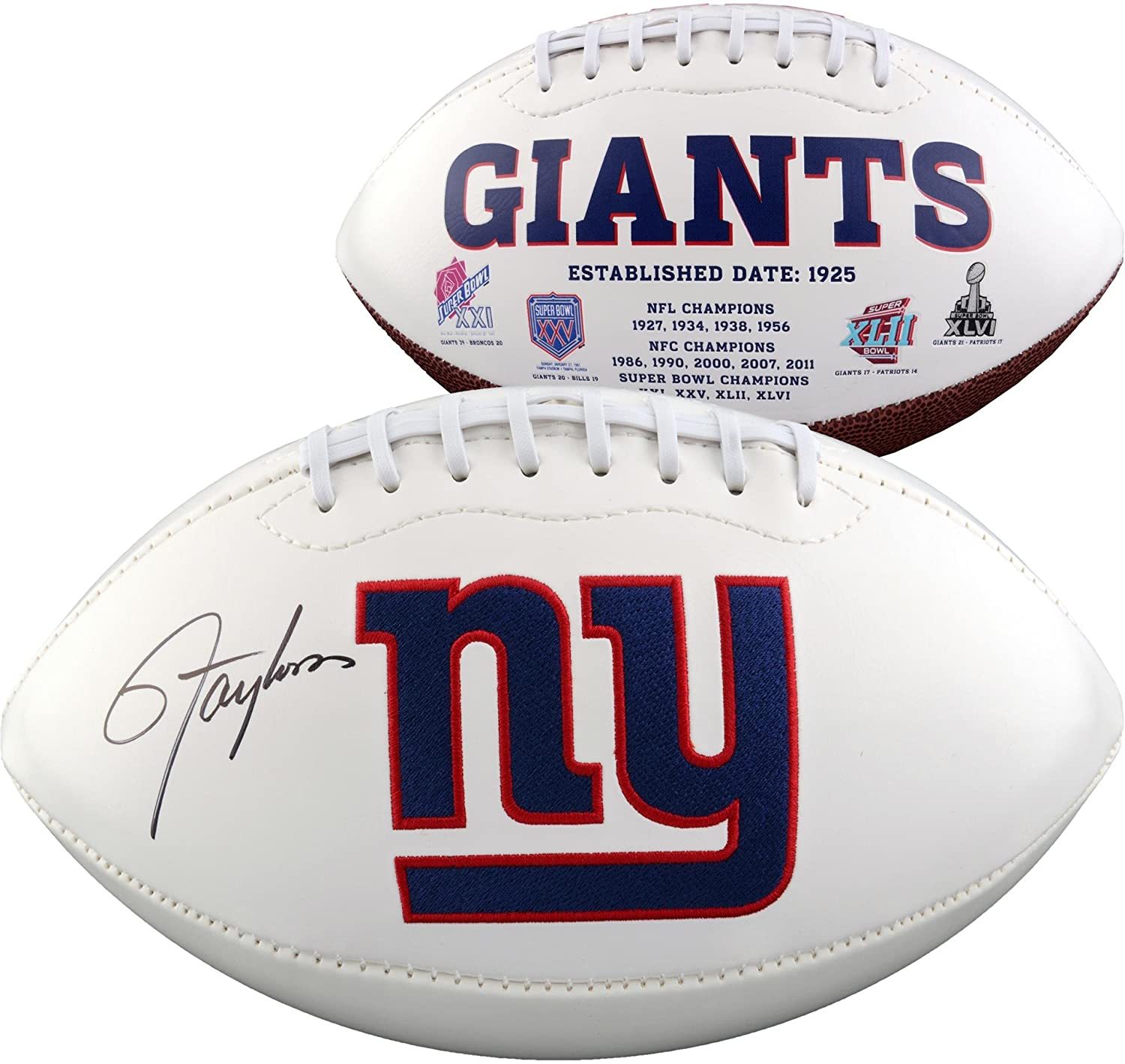 Lawrence Taylor New York Giants Autographed White Panel Football - Fanatics Authentic Certified - Autographed Footballs