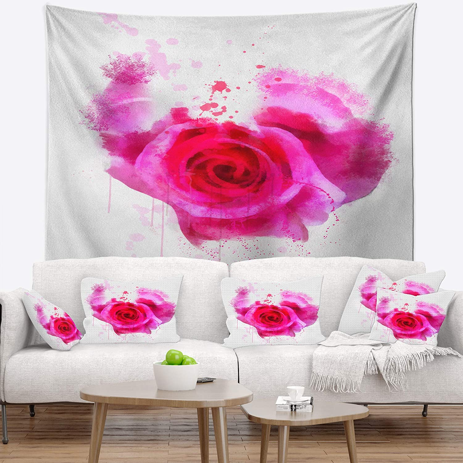Created On Lightweight Polyester Fabric x 39 in 32 in Designart TAP13909-32-39  Pink Hand Drawn Rose on White Floral Blanket D/écor Art for Home and Office Wall Tapestry Medium