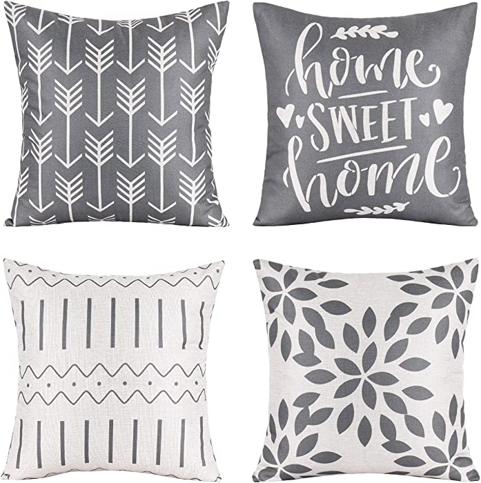 Pack of 4 Home Decorative Throw Pillow Covers Modern Cotton Linen Throw Pillow Covers Cushion Case for Couch Sofa Living Room Home Décor (Grey, 18x18)
