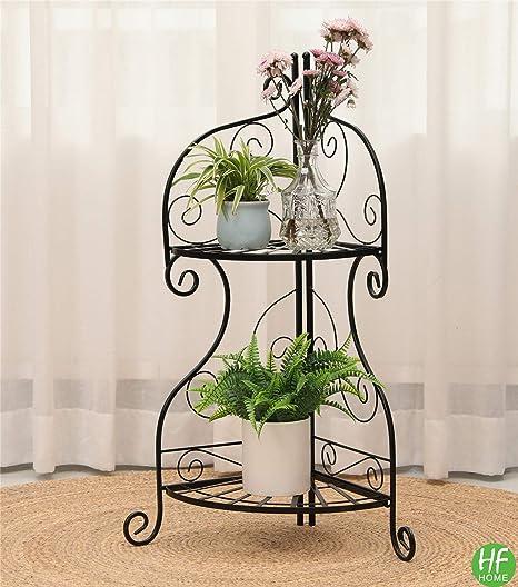 Yolafe 2 Tier Metal Corner Flower Stand Foldable Floor Plant Stand Flower Pot Shelf for Floor Balcony Indoor and Outdoor Living Room,Black