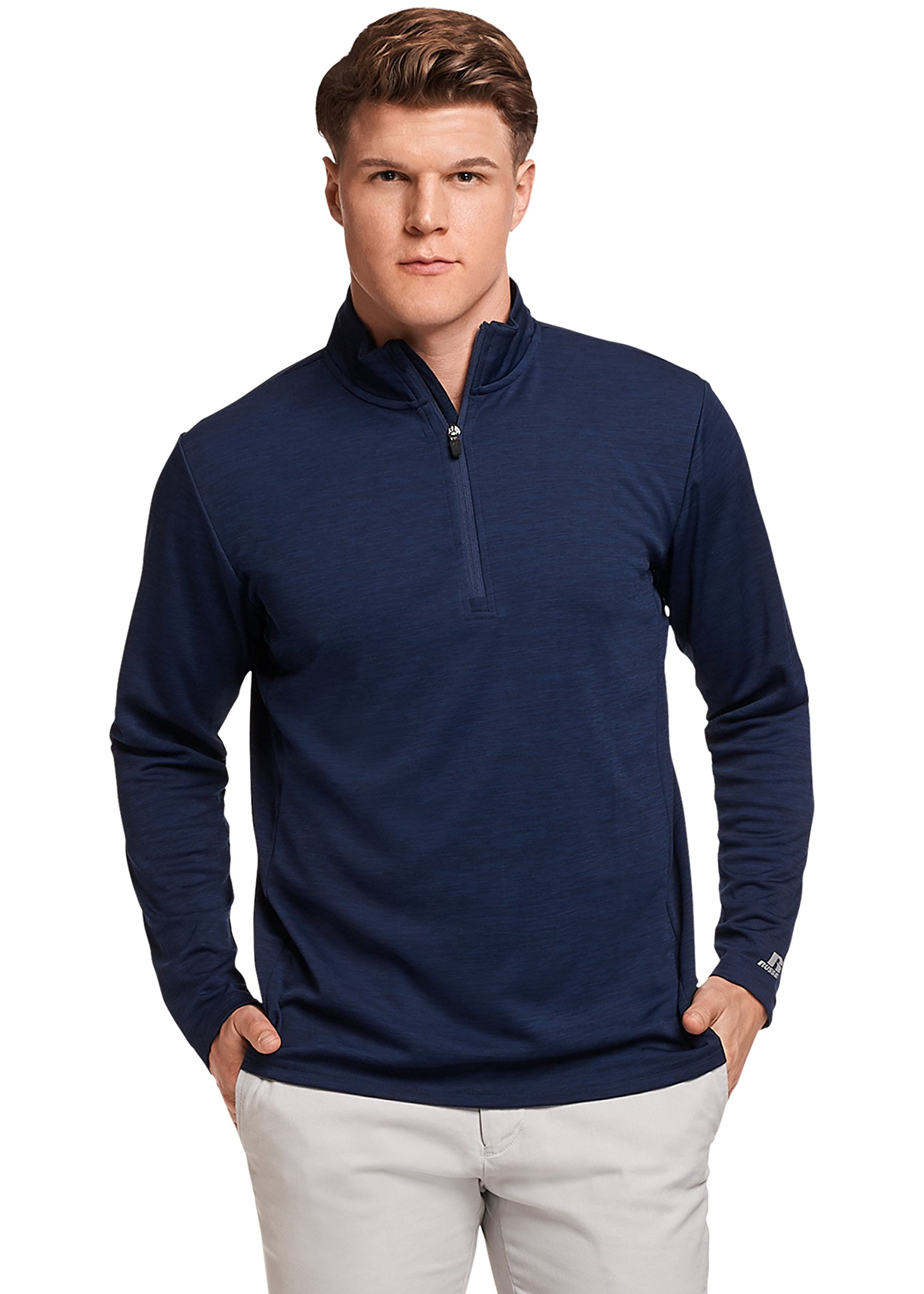 Russell Athletic Men's Lightweight Performance 1/4 Zip, Navy, XL by Russell Athletic