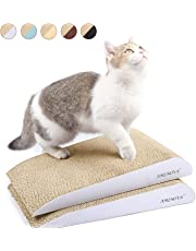 AMZNOVA Cat Scratchers, Inclined Corrugated Cardboard Scratch Lounge, Durable Kitty Scratching Pad with Bottom, Catnip Included, 2 Pack, Textured White
