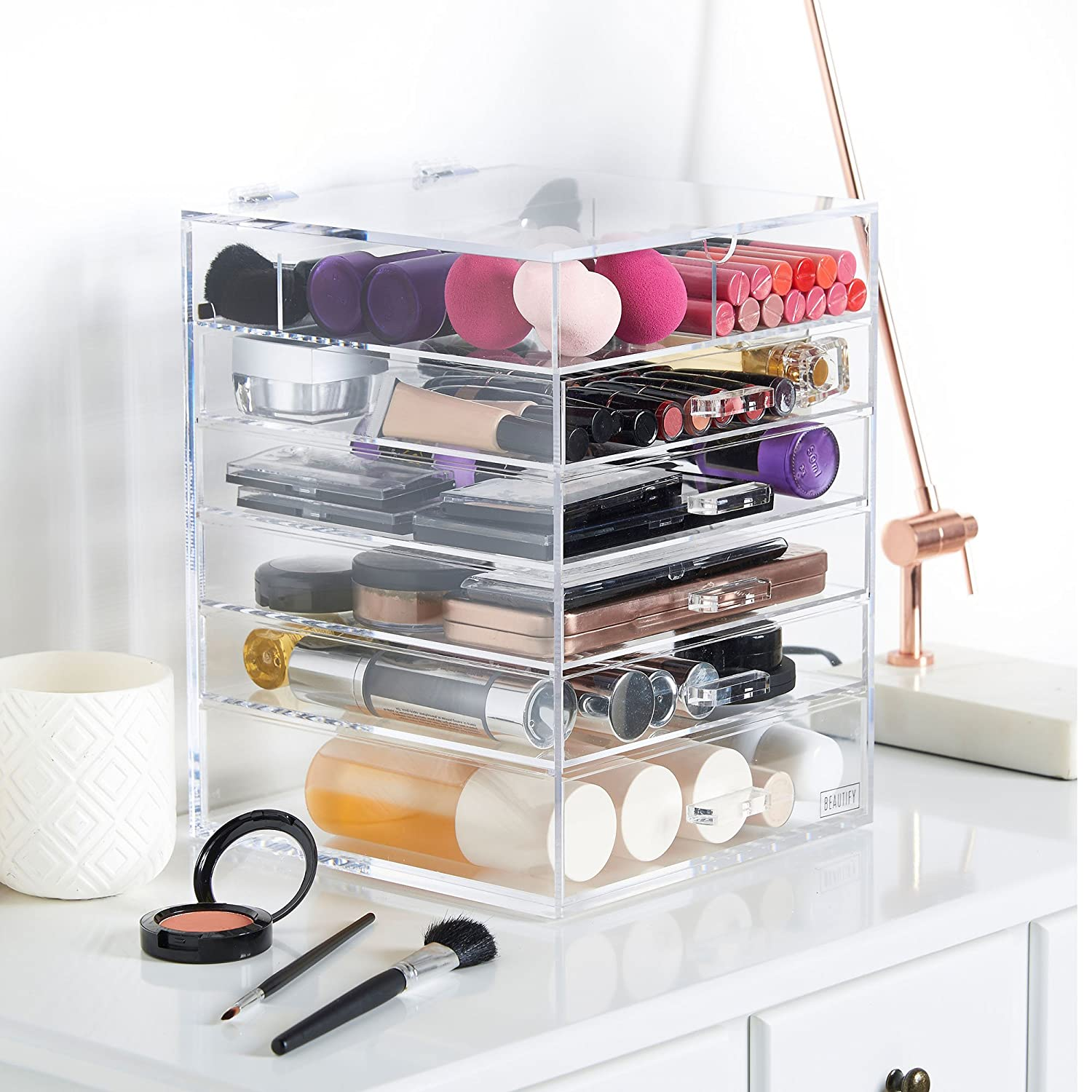Beautify Acrylic Cosmetic Organiser Clear Makeup Beauty Storage Box Cube