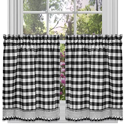Sweet Home Collection Cotton Decorative Buffalo Check Design, 36, Black/White