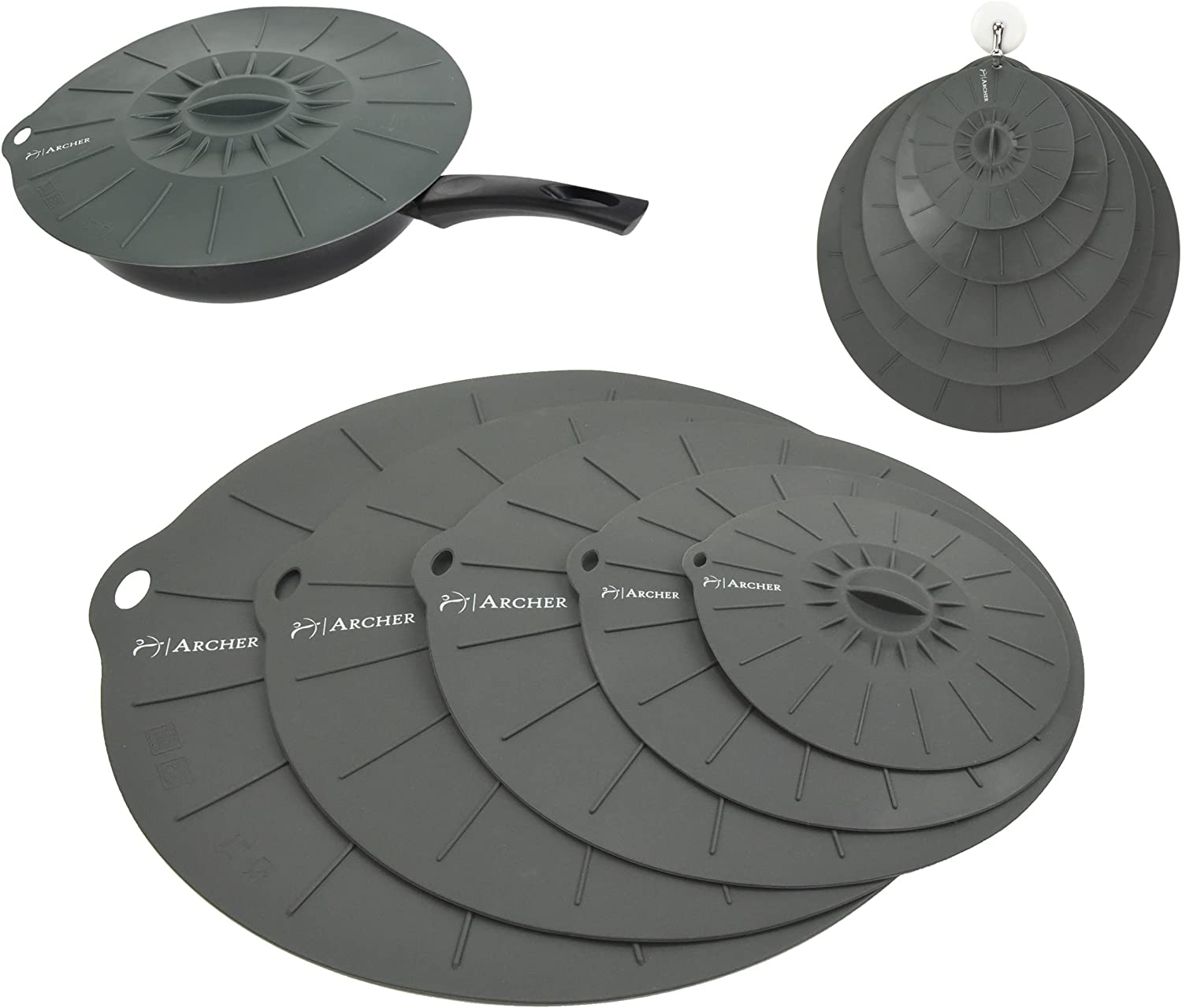 Silicone Suction Lids by Archer - Airtight Seal Silicone Lids Food and Bowl Covers