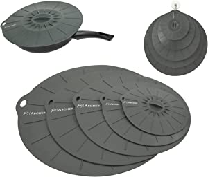 Silicone Suction Lids by Archer - Airtight Seal Silicone Lids Food and Bowl Covers - Includes 14 inch Super Size - Set of 5 Pan or Pot Lid, Microwave Splatter Guard - FDA Approved, Dishwasher Safe