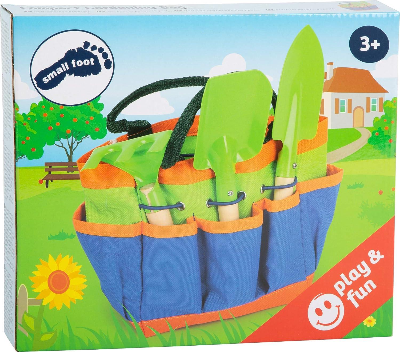 Legler Small Foot 12015 Sac de Jardin Compact en Bois et m/étal avec 3 Outils de Jardin Multicolore