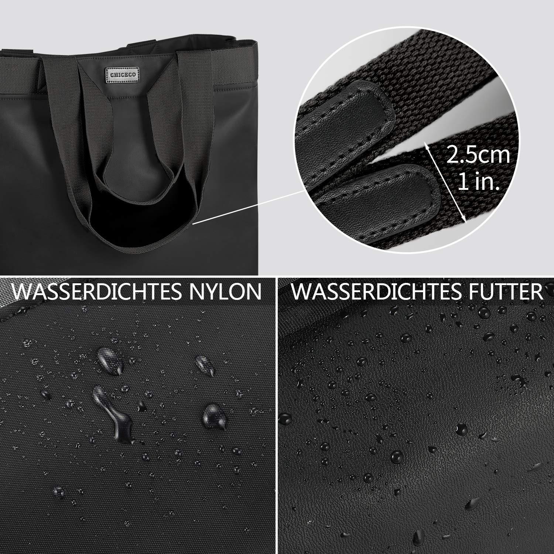 Noir Gris CHICECO X-Large Sac /à Main Imperm/éable Cabas pour Le Travail Voyager Plage Sac Utilitaire