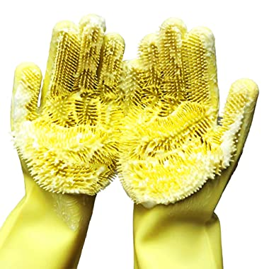 Cleaning Sponge Gloves, Silicone Reusable Cleaning Brush Heat Resistant Scrubber Gloves for Housework, Dishwashing, Kitchen, Bathroom, Bathing, Car Washing, Doors Window cleaning. 1 Pair (13.6  Large)