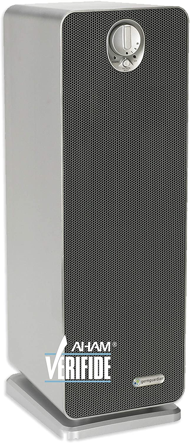 Germ Guardian True HEPA Filter Air Purifier with UV Light Sanitizer, Eliminates Germs, Filters Allergies, Pollen, Smoke, Dust, Pet Dander, Mold, Odors, Quiet 22in 4-in-1 AirPurifier for Home AC4900CA
