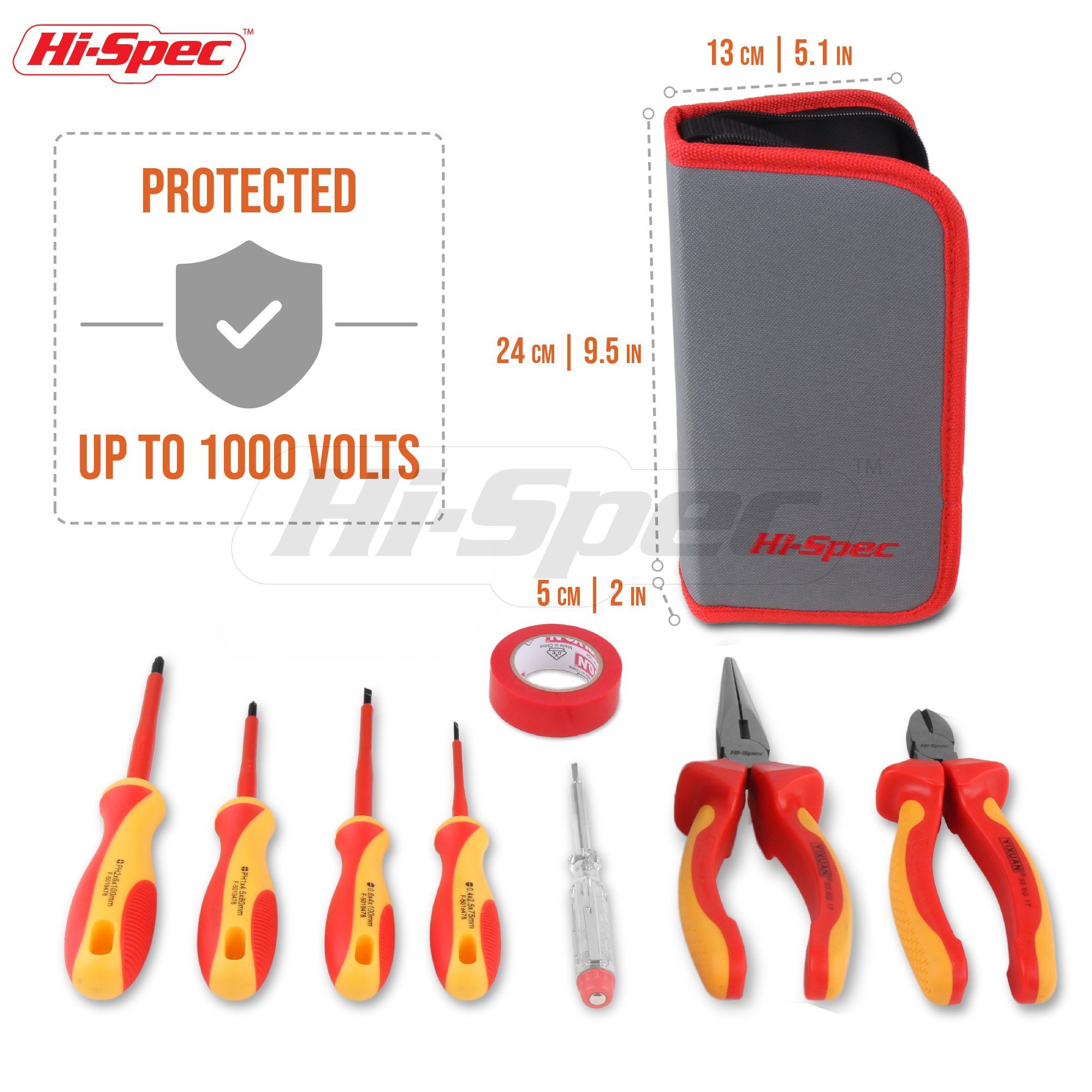 Hi-Spec 8 Piece Insulated Electrician Tool Set – 1000V VDE Approved Pliers, Slotted & Phillips Screwdrivers with S2 Steel Tips, Voltage Tester & Electrical Tape for DIY, Electrical Task, in Case by Hi-Spec (Image #2)