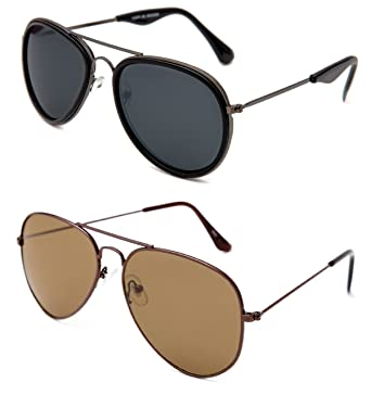 35224db6af31 TheWhoop Combo UV Protected New Stylish Black And Brown Aviator Goggle  Sunglasses For Men, Women, Girls, Boys: Amazon.in: Clothing & Accessories
