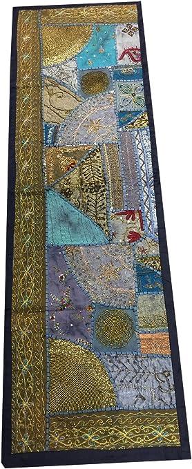 Indio Camino de mesa inspirado en sari Patchwork Boho Chic azul ...