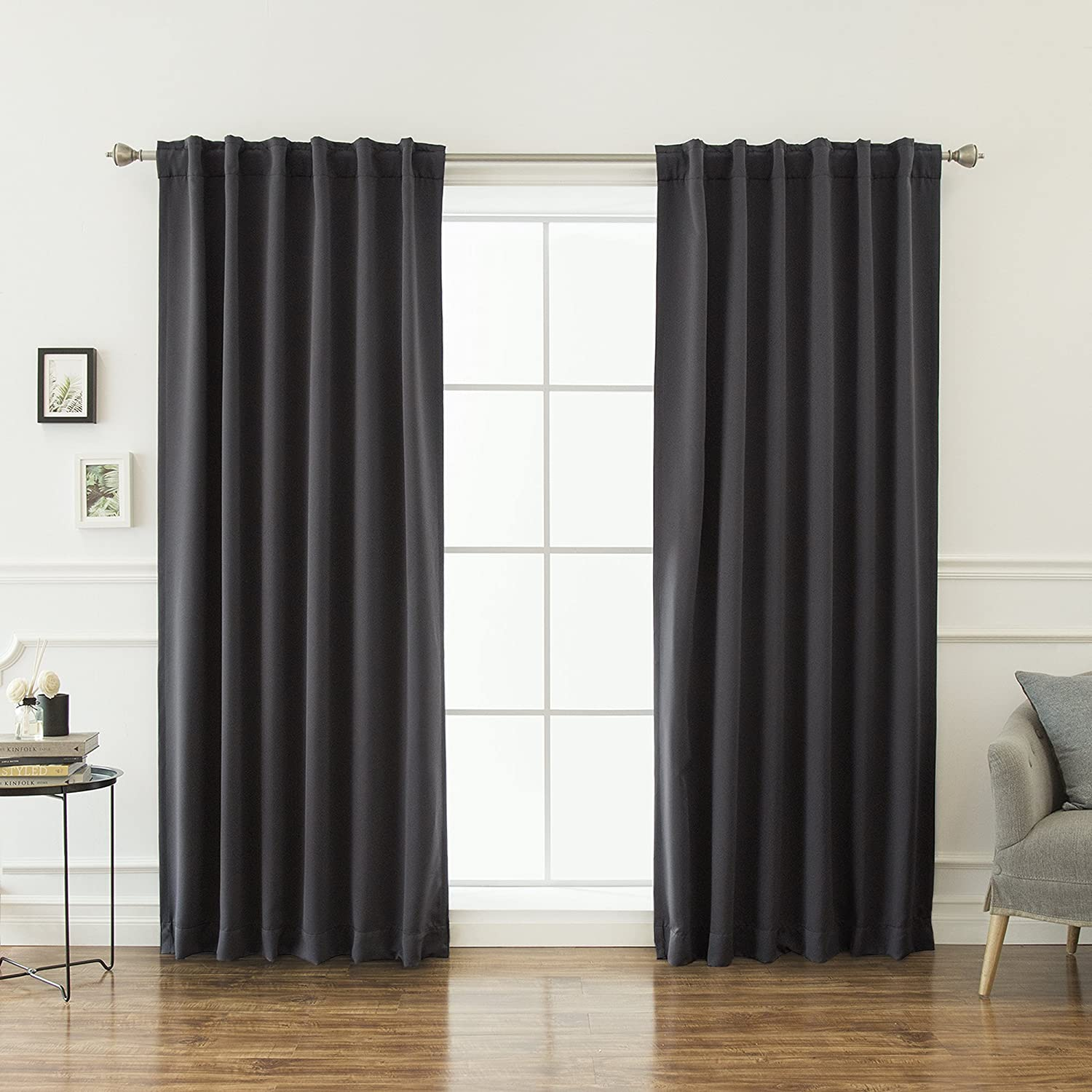 "Best Home Fashion Basic Thermal Insulated Blackout Curtains - Back Tab/Rod Pocket - Dark Grey - 52"" W x 96"" L – Tie Backs Included (Set of 2 Panels)"