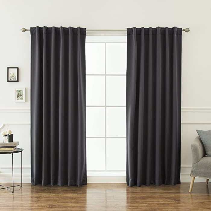 """Best Home Fashion Thermal Insulated Blackout Curtains - Back Tab/Rod Pocket - 52"""" W x 84"""" L - Dark Grey (Set of 2 Panels)"""