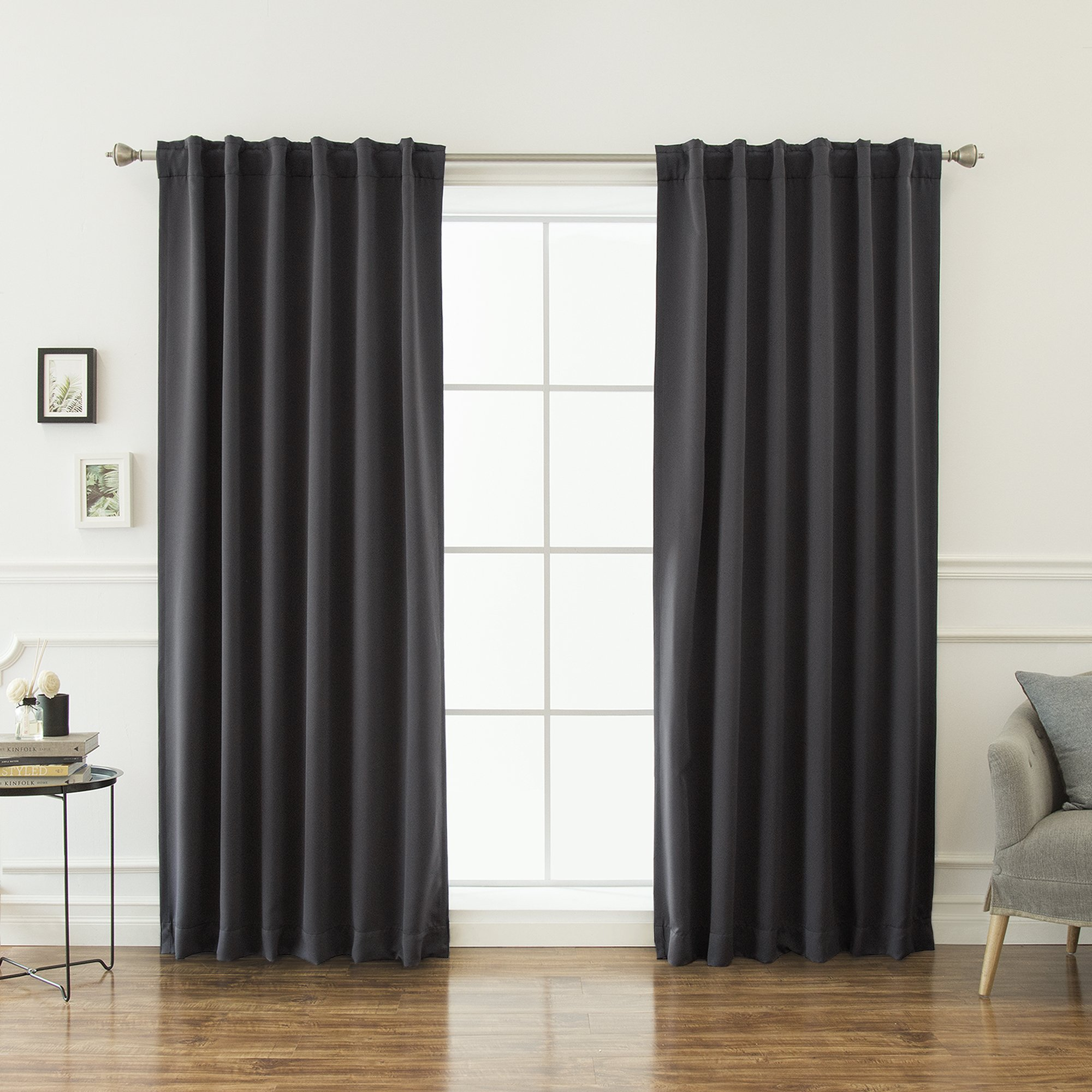 Best Home Fashion Thermal Insulated Blackout Curtains - Back Tab/Rod Pocket - 52'' W x 84'' L - Dark Grey (Set of 2 Panels)