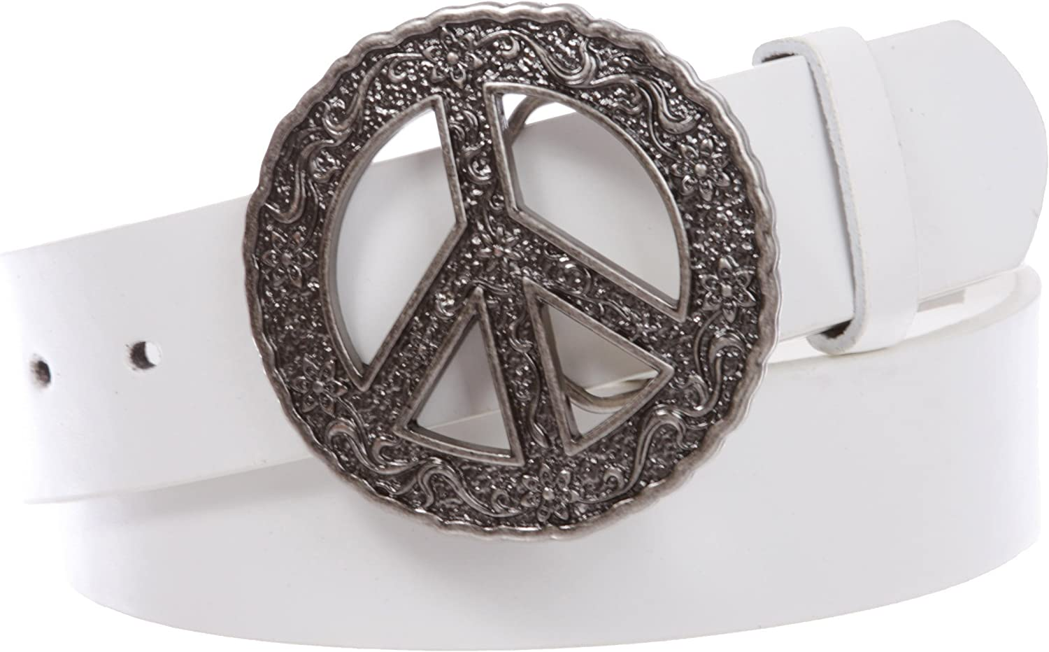 1 1//2 Snap On Belt With Round Perforated Floral Engraving Peace Sign Belt Buckle