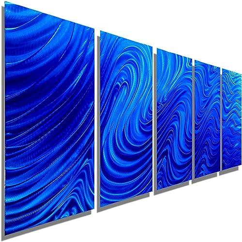 Statements2000 Extra Large Blue Metal Wall Art Sculpture – 84 x 36 Modern Contemporary Wall D cor by Jon Allen – Blue Hypnotic Sands XL