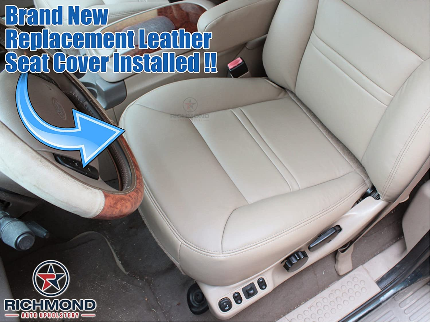 Amazon 2000 Ford Excursion Limited 4x4 Driver Side Bottom Replacement Leather Seat Cover Tan Automotive
