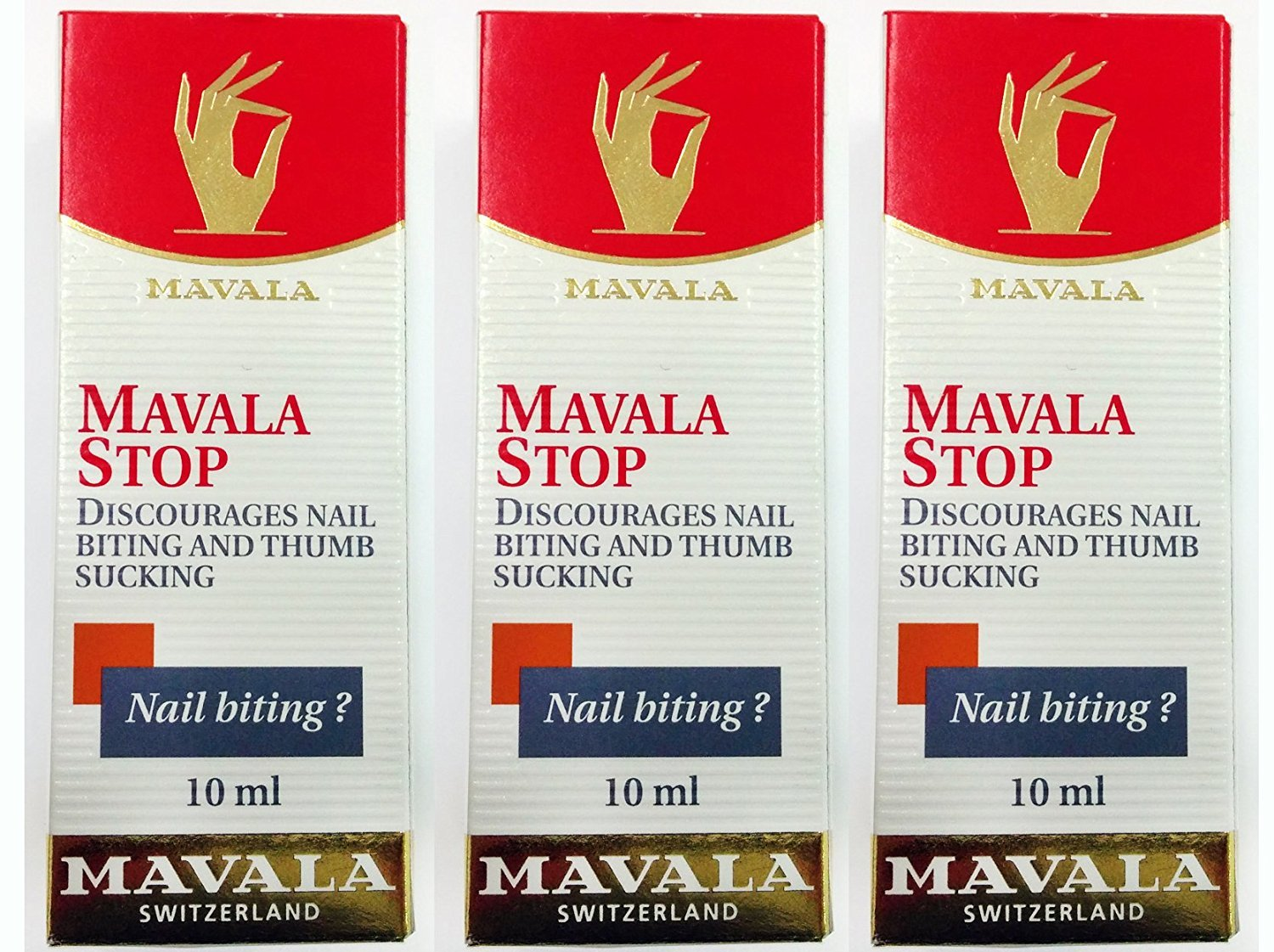 3 Pack of Mavala Stop Nail Biting and Thumb Sucking 0.3oz/10ml, Mavala Switzerland, Best Value: Total of 30ml!