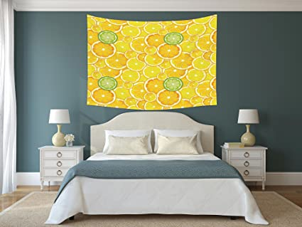 Amazon Com Iprint Polyester Tapestry Wall Hanging Yellow Decor