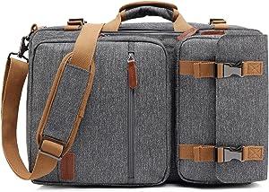 CoolBELL Convertible Briefcase Backpack Messenger Bag Shoulder Bag Laptop Case Business Briefcase Travel Rucksack Multi-Functional Handbag Fits 15.6 Inch Laptop for Men/Women (Grey)
