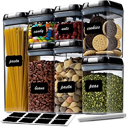 7 Pack Airtight Food Storage Container Set - Kitchen & Pantry Organization Containers - Labels & Chalk Marker - BPA Free Clear Plastic Kitchen and Pantry Organization Containers