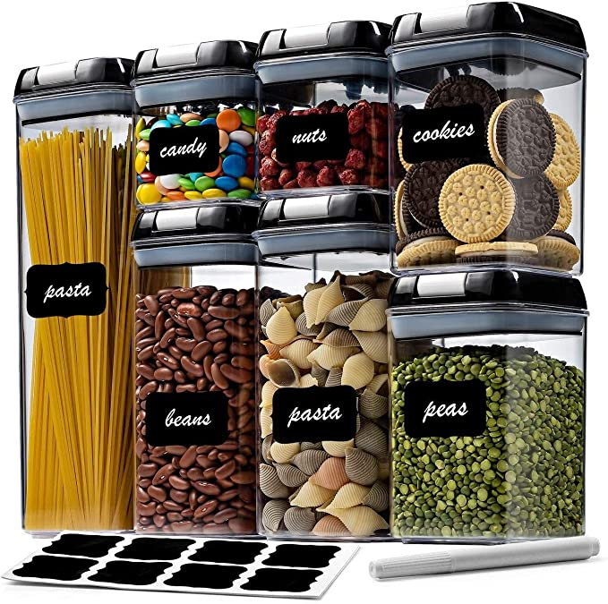 Amazon.com: 7 Pc Airtight Food Storage Container Set - Kitchen & Pantry Organization Containers - Labels & Chalk Marker - BPA Free Clear Plastic Kitchen and Pantry Organization Containers: Kitchen & Dining
