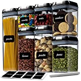 7 Pc Airtight Food Storage Container Set - Kitchen & Pantry Organization Containers - Labels & Chalk Marker - BPA Free…