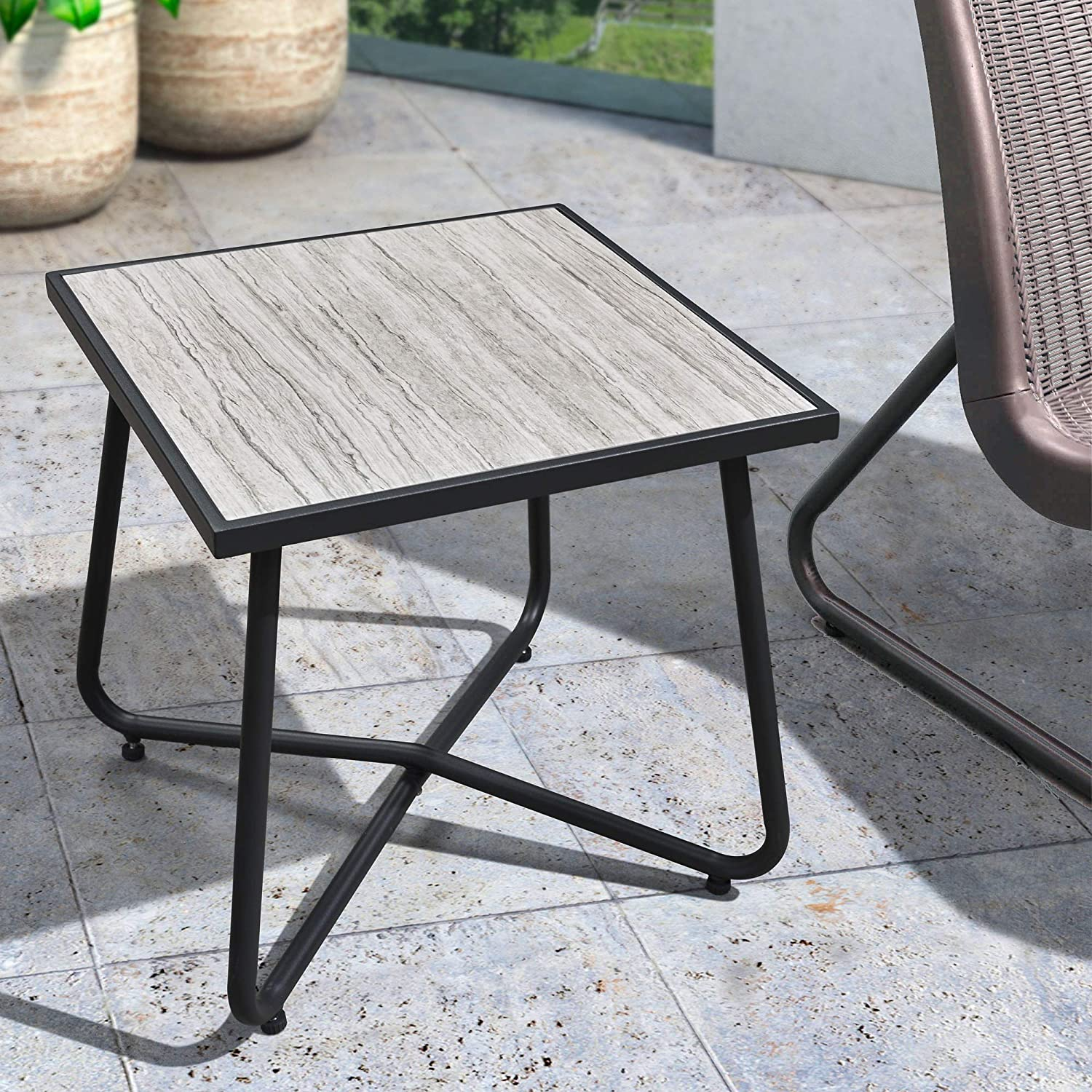 Cushions Included PURPLE LEAF 3 Pieces Patio Bistro Set with Weather Resistant Steel Frame and Square Table Conversation Set Coffee