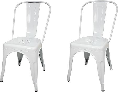 La Silla Española - Pack 2 Sillas estilo Tolix con respaldo. Color Blanco. Medidas 85x54x45,5: Amazon.es: Hogar