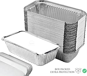 55 Pack – Loaf Pans with Lids, Aluminum Loaf Pans, Bread Pans, Meatloaf Pans l Cake Pan, Foil Loaf Pans, Disposable Aluminum l Tin Pans, 650 ml capacity – Size 7.8''x4.3''x2'' by Spare Essentials