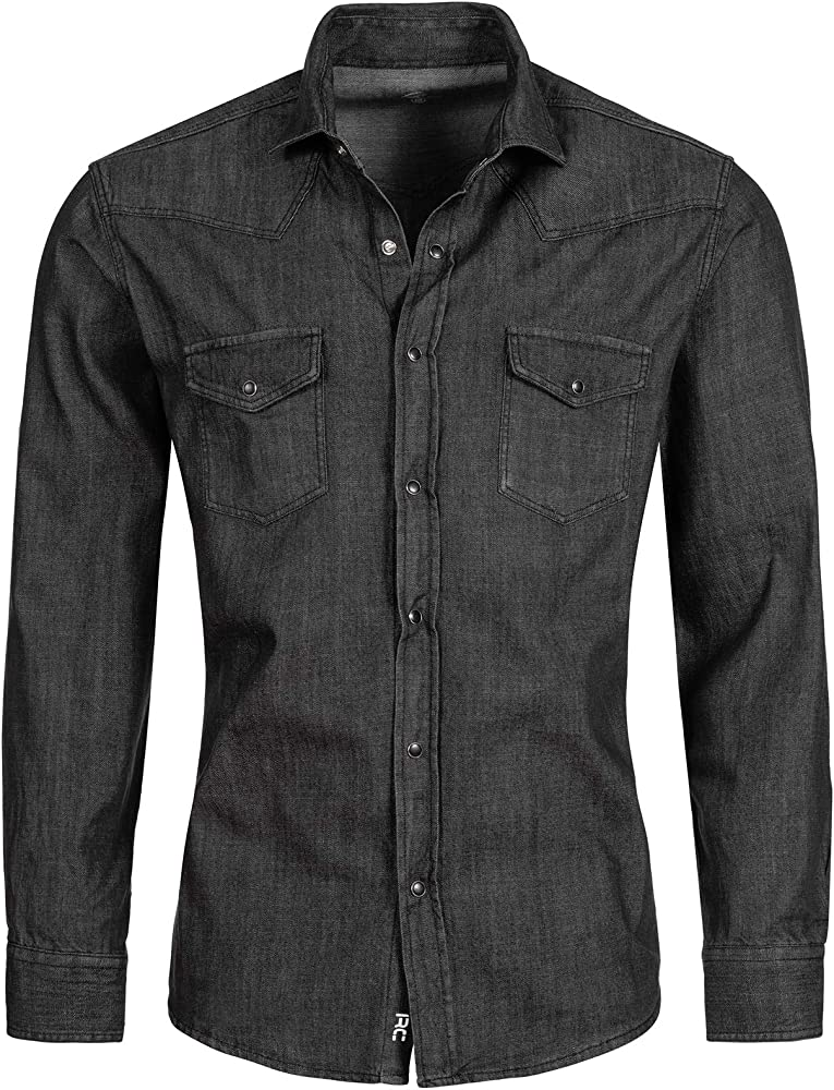 Rock Creek - Camisa vaquera para hombre, color azul, manga larga, corte normal, tallas S-XXL Gris H-198 S: Amazon.es: Ropa y accesorios
