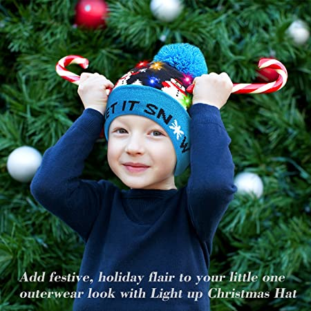 Amazon.com  PUMICE LED Light Up Beanie Colorful LEDs Hat for Women Children  Indoor and Outdoor 75343ea61cbe